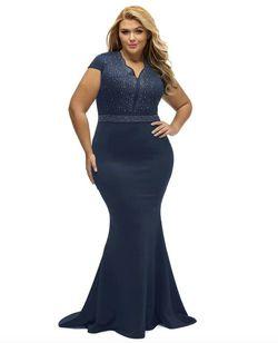 Style B076P5JVXR Lalagen Blue Size 26 Plus Size Jersey Mermaid Dress on Queenly