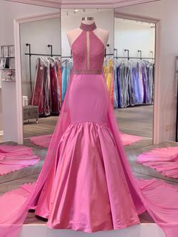 Sherri Hill Light Pink Size 4 Showstopper Cape Mermaid Dress on Queenly