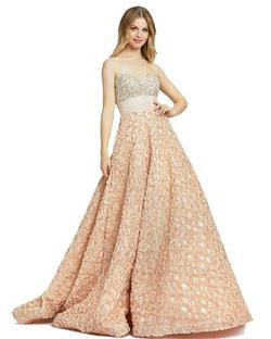 Style 67695 Mac Duggal Gold Size 8 Tall Height Ball gown on Queenly