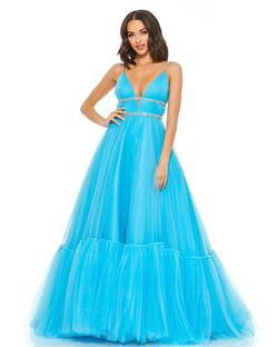 Style 67557 Mac Duggal Blue Size 6 Tulle Tall Height Ball gown on Queenly