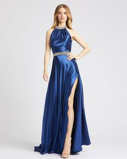 Style 67339 Mac Duggal Blue Size 4 Sorority Formal Tall Height Wedding Guest Side slit Dress on Queenly