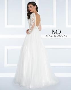 Style 65841 Mac Duggal White Size 0 Tall Height Lace Ball gown on Queenly