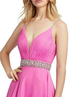 Style 48896 Mac Duggal Pink Size 4 Sorority Formal Tall Height Side slit Dress on Queenly