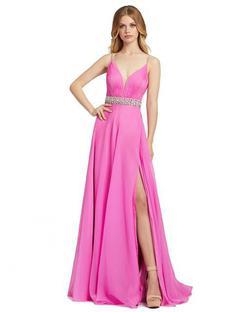 Style 48896 Mac Duggal Pink Size 12 Sorority Formal Belt Side slit Dress on Queenly