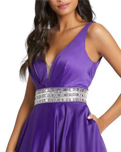 Style 48879 Mac Duggal Purple Size 14 Pageant Silk Ball gown on Queenly