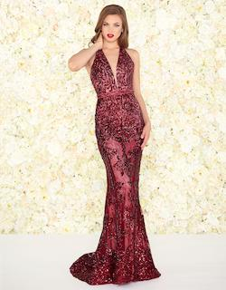 Style 48821 Mac Duggal Red Size 12 Halter Tall Height Mermaid Dress on Queenly