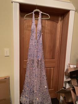 Tarik Ediz Purple Size 2 Plunge Halter A-line Dress on Queenly