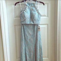 Extraordinary Blue Size 2 Padded Side Slit Mermaid Dress on Queenly