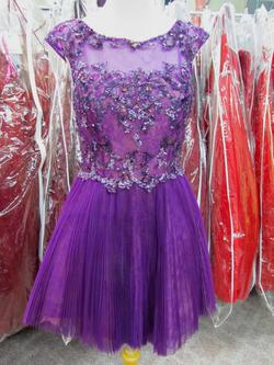 Style 21032 Sherri Hill Purple Size 10 Mini Tall Height Lace Cocktail Dress on Queenly