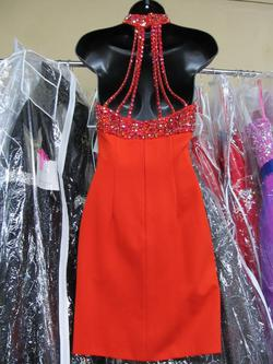 Style 50713 Sherri Hill Orange Size 4 Halter Tall Height Cocktail Dress on Queenly