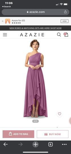Azazie Purple Size 12 One Shoulder Plus Size Wedding Guest Straight Dress on Queenly