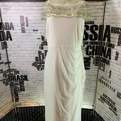 Roaman's  White Size 18 Boat Neck Plus Size Sheer Ball gown on Queenly