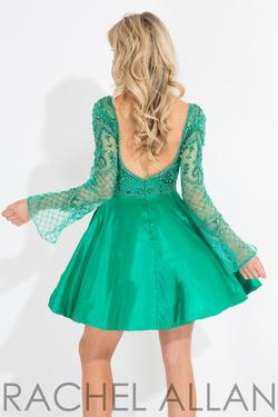 Style 4493 Rachel Allan Green Size 4 Bell Sleeves Emerald Silk Cocktail Dress on Queenly