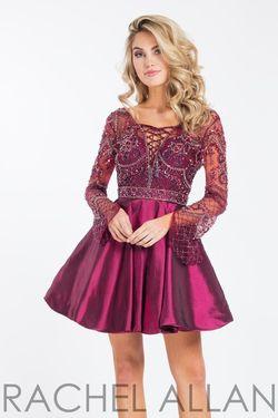 Style 4493 Rachel Allan Red Size 4 Burgundy Silk Cocktail Dress on Queenly
