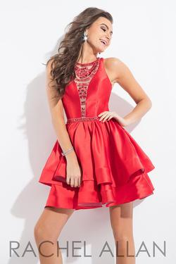 Style 4136RA Rachel Allan Red Size 6 Homecoming Flare Tall Height Cocktail Dress on Queenly