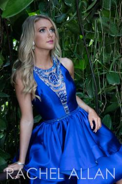 Style 4136RA Rachel Allan Blue Size 12 Homecoming Tall Height Cocktail Dress on Queenly