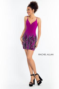 Style 4641 Rachel Allan Purple Size 4 Sorority Formal Tall Height Wedding Guest Cocktail Dress on Queenly