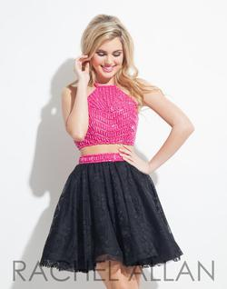 Style 4027RA Rachel Allan Black Size 10 Homecoming Flare Two Piece Cocktail Dress on Queenly
