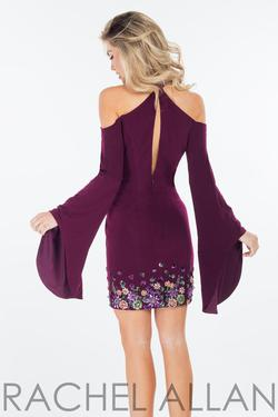 Style 4464 Rachel Allan Purple Size 4 Bell Sleeves Mini Tall Height Wedding Guest Cocktail Dress on Queenly