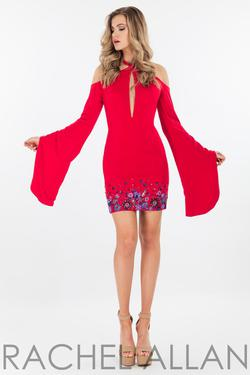 Style 4464 Rachel Allan Red Size 4 Mini Bell Sleeves Cocktail Dress on Queenly