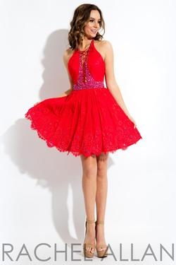 Style 4433 Rachel Allan Red Size 4 Halter Tall Height Lace Cocktail Dress on Queenly