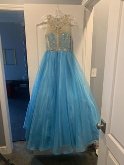 Envious Couture by Karishma Creations Blue Size 8 Tulle Lace Ball gown on Queenly