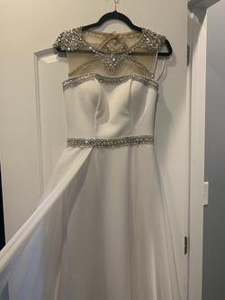Ritzee Originals White Size 2 Jewelled Prom Sequin Train Dress on Queenly