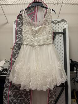 Sherri Hill White Size 14 Graduation Lace Cocktail Dress on Queenly
