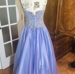 Jovani Purple Size 6 Blue Halter Sweetheart Ball gown on Queenly