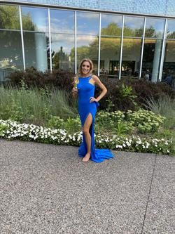 Jovani Royal Blue Size 4 Pageant Side slit Dress on Queenly
