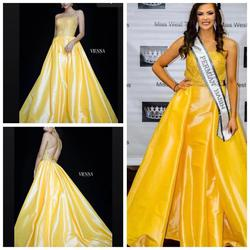 Vienna Yellow Size 4 Pageant Train Tall Height Ball gown on Queenly