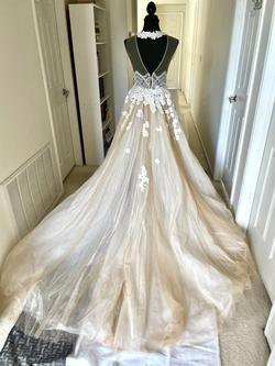 Milla Nova Ramiata Nude Size 6 Halter Lace Train Dress on Queenly