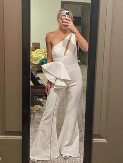 Jovani White Size 4 Fun Fashion Jumpsuit Dress on Queenly