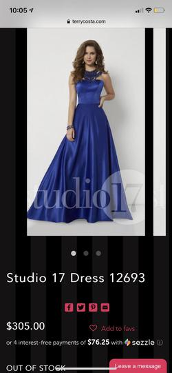 studio17 Royal Blue Size 24 Silk Straight Dress on Queenly