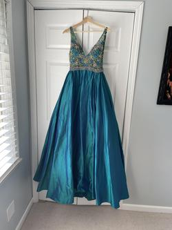Jovani Blue Size 2 Pageant Overskirt A-line Dress on Queenly