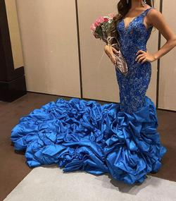 Jovani Royal Blue Size 0 Fully-beaded Showstopper Train Dress on Queenly