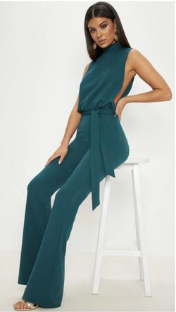 PrettyLittleThing Green Size 4 Belt Teal Emerald Jumpsuit Dress on Queenly