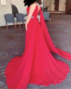 Colors Red Size 4 Pageant Cape A-line Dress on Queenly