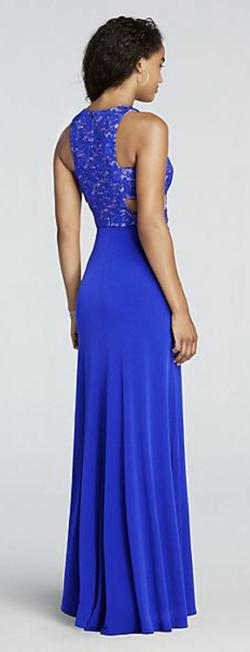 Morgan & Co. Blue Size 6 Sequin Fitted Cut Out Side slit Dress on Queenly