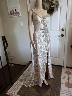 Terani Couture Nude Size 0 One Shoulder Side slit Dress on Queenly