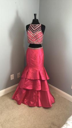 Mori Lee Pink Size 10 Two Piece Ruffles Mermaid Dress on Queenly