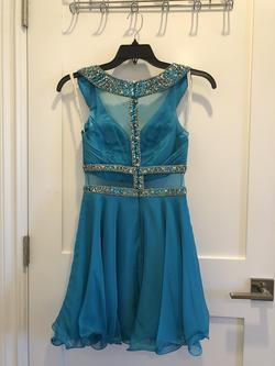 Rachel Allan Blue Size 4 Teal Cocktail Dress on Queenly