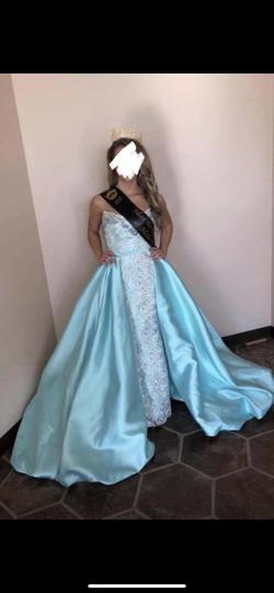 Mac Duggal Blue Size 0 Pageant Silk A-line Dress on Queenly