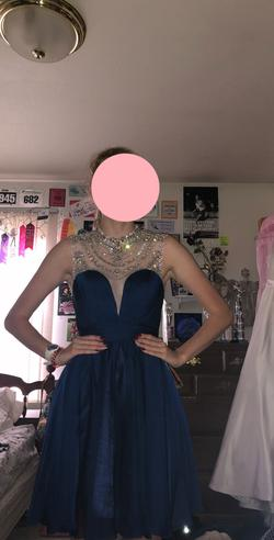 Hannah S Blue Size 2 Sweetheart Cocktail Dress on Queenly