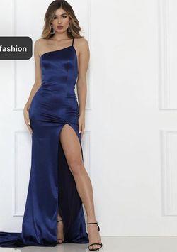 Shiny Dresses Blue Size 8 Side slit Dress on Queenly