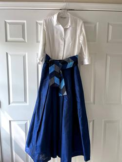 Marisa Baratelli Blue Size 10 Wedding Guest Ball gown on Queenly