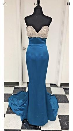 Sherri Hill Blue Size 2 Sweetheart Silk Mermaid Dress on Queenly