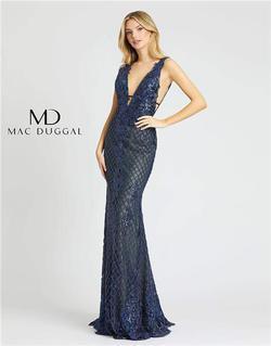 Style 26258 Mac Duggal Blue Size 8 Plunge Sorority Formal Mermaid Dress on Queenly