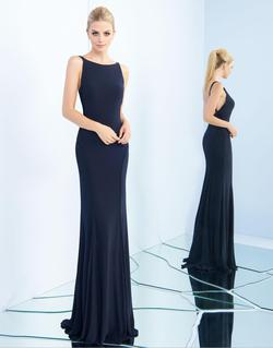 Style 25220 Mac Duggal Blue Size 4 Sorority Formal Tall Height Wedding Guest Straight Dress on Queenly