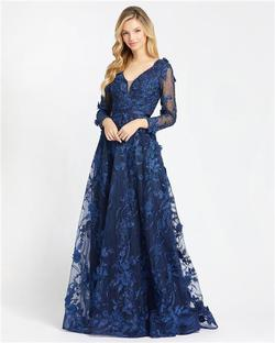 Style 20108 Mac Duggal Blue Size 2 Lace Wedding Guest Ball gown on Queenly